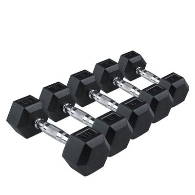 Шестигранные прорезиненные гантели 1-10 кг (10пар) RISING Rubber Hexagon Dumbbell